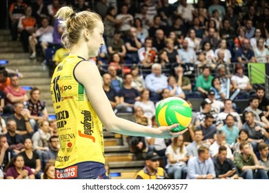 Berlin, Germany - May 21, 2019: American volleyball player Kimberly Hill, part of the Imoco Volley Conegliano, Italian women's volleyball club, during the CEV Champions League Volley 2019 Super Final
