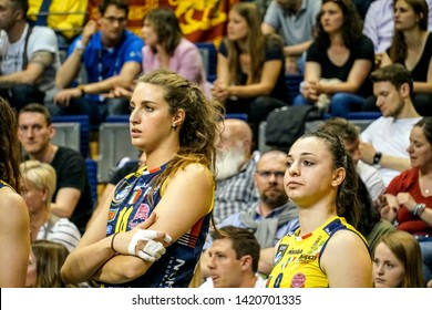 Berlin, Germany - May 21, 2019: Volleyball players Eleonora Fersino and Gaia Moretto, part of the Italian women's club Imoco Volley Conegliano, during the CEV Champions League Volley 2019 Super Final