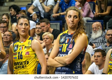 Berlin, Germany - May 21, 2019: Volleyball players Valentina Tirozzi and Gaia Moretto, part of the Italian women's club Imoco Volley Conegliano, during the CEV Champions League Volley 2019 Super Final