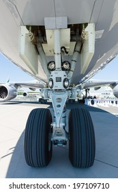 BERLIN, GERMANY - MAY 22, 2014: Front landing gear widebody passenger jet Boeing 747-8. Exhibition ILA Berlin Air Show 2014