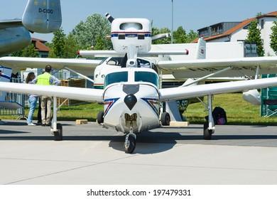 BERLIN, GERMANY - MAY 22, 2014: Flying Boat Lake Renegade 270 Turbo. Exhibition ILA Berlin Air Show 2014
