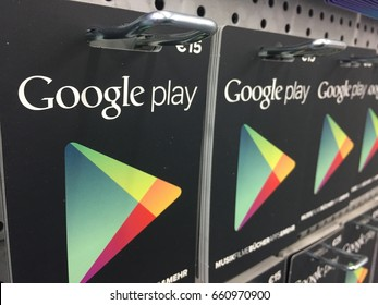 Berlin, Germany - May 22, 2017: Google play gift cards. Google Play (formerly Android Market) is a digital distribution service operated and developed by Google