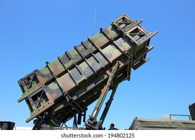 BERLIN, GERMANY - MAY 22: MIM-104 Patriot surface-to-air missile (SAM) system at the International Aerospace Exhibition ILA on May 22nd, 2014 in Berlin, Germany.