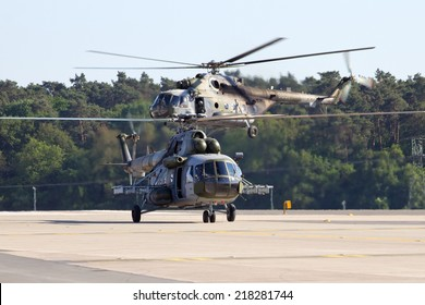 BERLIN, GERMANY - MAY 22: Two Czech Air Force Mi-171 helicopterslanding after a demonstration at the International Aerospace Exhibition ILA on May 22nd, 2014 in Berlin, Germany.