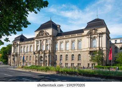 BERLIN, GERMANY - MAY 23, 2018: A view the facade of the main building of the University of the Arts, Universitat der Kunste or UdK by its acronym in German, at the Hardenbergstrasse street