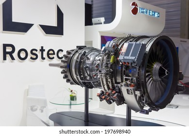BERLIN, GERMANY - MAY 24, 2014: Model of the turbofan engine PowerJet SaM146. NPO Saturn. Russia. Exhibition ILA Berlin Air Show 2014