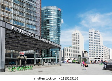 BERLIN, GERMANY - MAY 24, 2018: A view of the Potsdamer Platz, an important square in the center of the city, with many new buildings, built in the last years, after the fall of the Berlin Wall