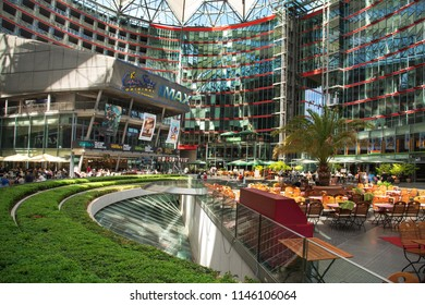 BERLIN, GERMANY - MAY 24, 2018: View of the Sony Center, which contains restaurants, shops, hotels, a conference center, offices, museums or cinemas, and is located next to the famous Potsdamer Platz