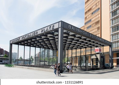 BERLIN, GERMANY - MAY 24, 2018: Entrance to the Bahnhof Potsdamer Platz station, at Potsdamer Platz, an important square in the center of the city, with many buildings built after the fall of the Wall