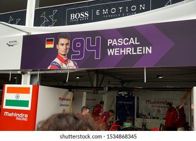 Berlin, Germany - May 24, 2019: Banner with the photo, name and the number of the German - Mauritian professional racing driver Pascal Wehrlein at the E-Prix ABB FIA Formula E race car Championship