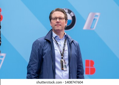 Berlin, Germany - May 25, 2019: Federal Minister of Transport and Digital Infrastructure Andreas Scheuer on the podium at the E-Prix ABB FIA Formula E race car Championship Award Ceremony