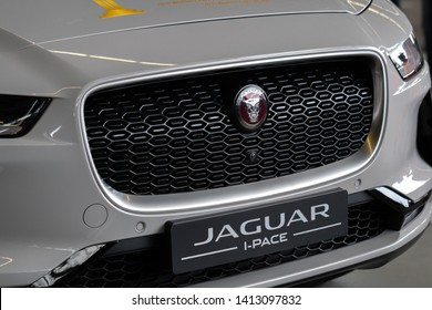 Berlin, Germany - May 25, 2019: Jaguar I-PACE,  a battery-electric crossover SUV produced by British automotive company Jaguar Land Rover (JLR) under their Jaguar marque