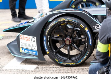 Berlin, Germany - May 25, 2019: Silkroad VC and Michelin sponsor logos on FIA Formula E racing car body style
