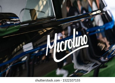 Berlin, Germany - May 25, 2019: Microlino electric car, a small, space-saving, bubble car with a battery powered electric motor developed by the Swiss company Micro Mobility Systems