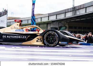 Berlin, Germany - May 25, 2019: DS Automobiles racing electric car participating in the ABB FIA Formula E Championship. DS Automobiles is the premium automobile marque, part of Groupe PSA