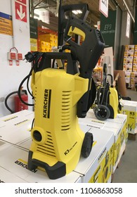 Berlin, Germany - May 26, 2018: Kärcher high pressure washer full control. The German company Alfred Kärcher GmbH is known for its high-pressure cleaners, floor care equipment, parts cleaning systems