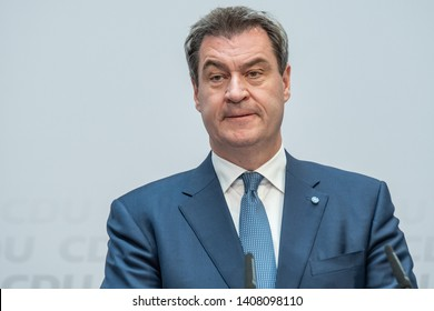 Berlin, Germany - May 26th 2019: Markus Söder speaking at the CDU EU election day event about the results of the election.