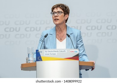 Berlin, Germany - May 26th 2019: Annegret Kramp-Karrenbauer speaking at the CDU EU election day event about the results of the election.
