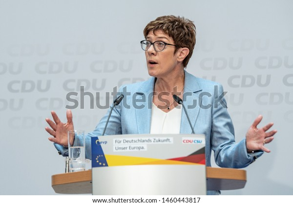 Berlin, Germany - May 26th 2019: Annegret Kramp-Karrenbauer speaking on the evening of the EU election at the CDU headquarters in Berlin.