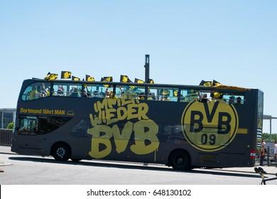 Berlin, Germany - may 27, 2017: BVB Fans / Borussia Dortmund Fan Bus in Berlin on the day of the DFB-Pokal final.