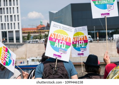 Berlin, Germany - may 27, 2018: Counter-protest against the AFD / Alternative for Germany (German: Alternative für Deutschland, AfD), a right-wing to far-right political party in Germany