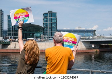 Berlin, Germany - may 27, 2018: People holding sign with anti-racism slogan on protest against the AFD / Alternative for Germany (AfD), a far-right political party in Germany