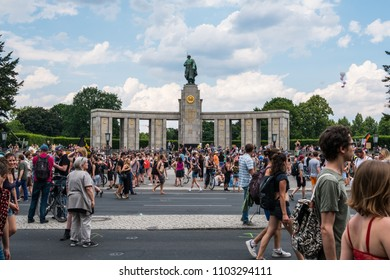 Berlin, Germany - may 27, 2018: Counter-protest against the AFD / Alternative for Germany (German: Alternative für Deutschland, AfD), a right-wing to far-right political party in Germany.