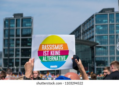 Berlin, Germany - may 27, 2018:  protest against the demonstration of the AFD / Alternative for Germany (German: Alternative für Deutschland, AfD), a far-right political party in Germany