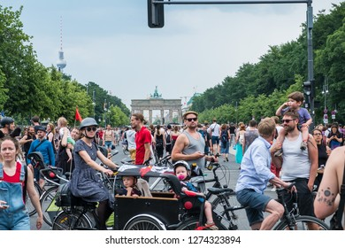 Berlin, Germany - may 27, 2018: Counter-protest against the AFD / Alternative for Germany (German: Alternative für Deutschland), a right-wing to far-right political party in Germany.