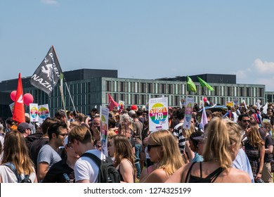 Berlin, Germany - may 27, 2018: Demonstration against the AFD / Alternative for Germany (German: Alternative für Deutschland), a right-wing to far-right political party in Germany.