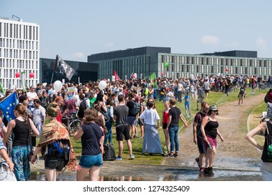 Berlin, Germany - may 27, 2018: People at protest against  the AFD / Alternative for Germany (German: Alternative für Deutschland, AfD), a right-wing to far-right political party in Germany.