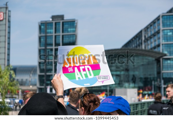 Berlin, Germany - may 27, 2018: Stop AFD slogan at Counter-protest against the   AFD / Alternative for Germany (German: Alternative für Deutschland), a right-wing  political party in Germany