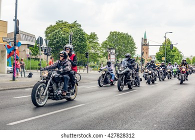Berlin, Germany - May 28, 2016: Motorcycle parade in Berlin against violance. Motocycle demonstration on Potsdamer platz in Berlin