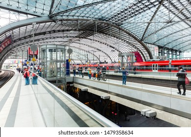 Berlin, Germany - May 28, 2019: central station with unidentified people. It's the largest interchange station in Europe and from number of - 300.000 - passengers the 4th in Germany