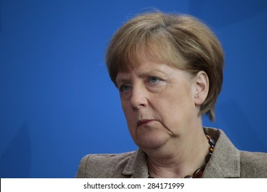 BERLIN, GERMANY - MAY 29, 2015: German Chancellor Angela Merkel at a press conference after a meeting with the British Prime Minister in the Chanclery in Berlin.