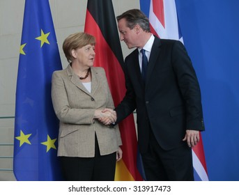 BERLIN, GERMANY - MAY 29, 2015: German Chancellor Angela Merkel, British Prime Minister David Cameron at a press conference after a meeting in the Federal Chancellery in Berlin.