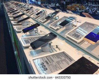 Berlin, Germany - May 3, 2017: Samsung smartphones displayed in electronics store. Samsung Group is a South Korean multinational conglomerate producing consumer electronics and electronic components