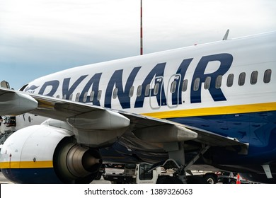 Berlin, Germany - May 3, 2019: Ryanair airplane. Ryanair Ltd. is an Irish low-cost airline with its primary operational bases at Dublin and London Stansted Airports