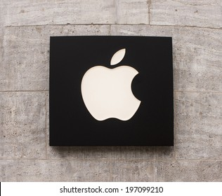 BERLIN, GERMANY - MAY 30, 2014: Apple Store logo in Berlin Kurffurstendamm. Apple is an American multinational corporation headquartered in Cupertino, California.