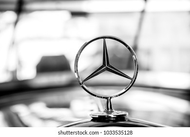 Berlin, Germany - may 31, 2017: Mercedes Benz Sign or logo Close Up. Founded in 1926 is a German luxury automobile manufacturer, a multinational division of the German manufacturer Daimler AG
