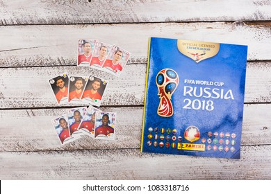 BERLIN, GERMANY - May 4, 2018: Duplicate stickers for exchange of Panini collection album and sticker packs for the football/soccer world cup in Russia 2018.