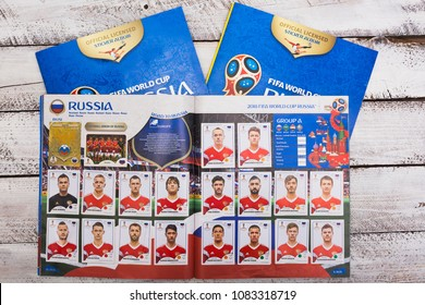 BERLIN, GERMANY - May 4, 2018: Finished team page in Panini collection album and sticker packs for the football/soccer world cup in Russia 2018.