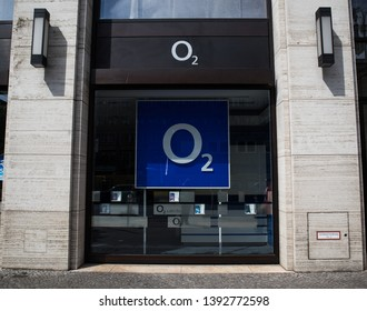 Berlin, Germany - May 4 2019: The front of a o2 retail store in Berlin. o2 is a telecommunications company, owned by Telefonica.