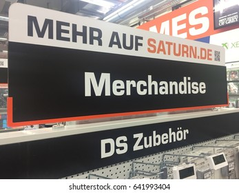 Berlin, Germany - May 5, 2017: German text for equipment in Saturn store