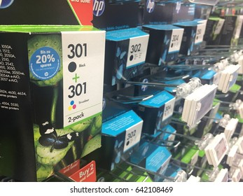 Berlin, Germany - May 5, 2017: HP Ink cartridges. The Hewlett-Packard Company or shortened to Hewlett-Packard was an American multinational information technology company headquartered in California