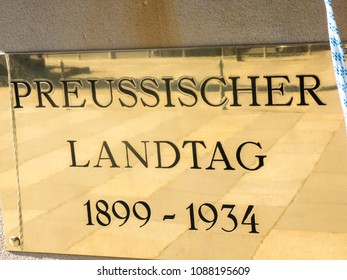 Berlin, Germany - May 5, 2018: Preussischer (German for Prussian) Landtag nameplate outside the Abgeordnetenhaus of Berlin (House of Representatives), the state parliament (Landtag) of Berlin