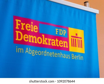 Berlin, Germany - May 5, 2018: Advertising stand of the political party Freie Demokratische Partei, FDP. The Free Democratic Party is a liberal and classical liberal political party