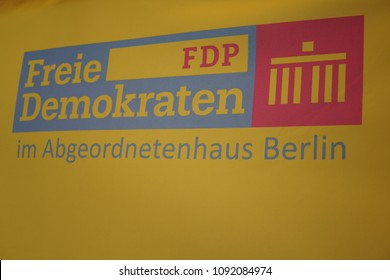 Berlin, Germany - May 5, 2018: Symbol of the political party Freie Demokratische Partei, FDP. The Free Democratic Party is a liberal and classical liberal political party