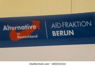 Berlin, Germany - May 5, 2018: Red and blue symbol of the German right-wing to far-right political party Alternative for Germany (AFD)