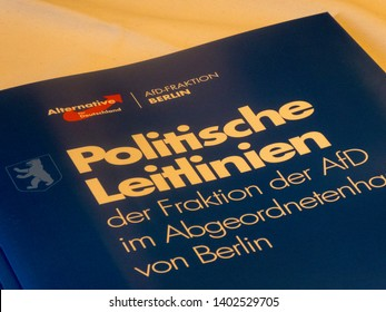 Berlin, Germany - May 5, 2018: Political Guidelines (Politische Leitlinien) of the German right-wing to far-right political party Alternative for Germany (AFD)